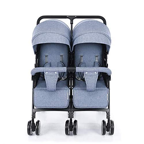 Triciclo Triciclo para bebé, triciclo presente Triciclo para niños, cochecitos de paraguas doble Sillones de bebé ligeros y flexibles Amortiguadores plegables Cochecitos de bebé gemelos con respaldo