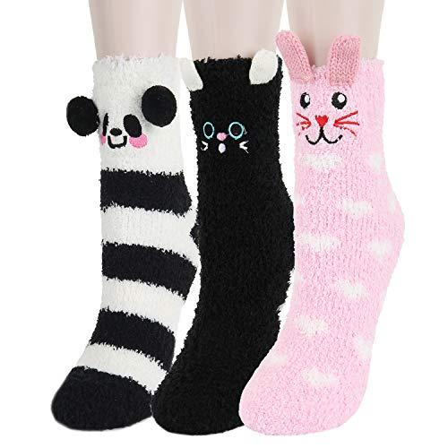 Benefeet Sox Novelty Fuzzy Slipper Socks for Women Girls Animal Pack Home Winter Warm Cozy Plush Socks,3 Pack Rabbit Bear