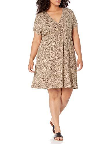 Amazon Essentials Women's Plus Size Surplice Dress, Mini Leopard, 4X