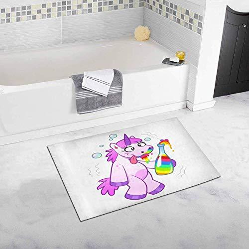 Soefipok Unicornio Borracho de Dibujos Animados con una Botella de Alfombra de Alfombra de decoración de baño de Felpa de Arco Iris con Respaldo de Goma Antideslizante