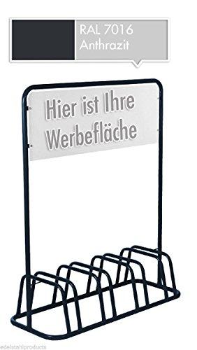 4er Werbe-Fahrradständer mit Werbeschild / Fahrradhalter + Werbetafel (Grau)