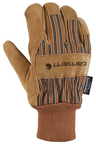 Carhartt Men's Insulated Suede Work Glove with Knit Cuff, Brown, Medium