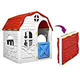 GOTOTOP Casa de juguete para niños, plegable con puerta y ventanas, multicolor, de plástico, 96 x 61 x 115 cm