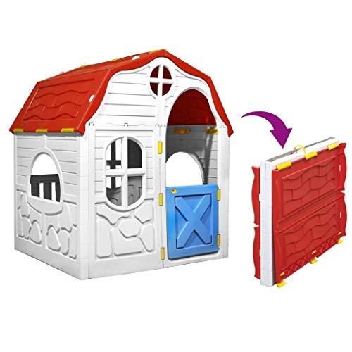 GOTOTOP Casina Giocattolo per Bambini,Casetta per Bambini Pieghevole con Porta e Finestre,Multicolore, in Plastica,96 x 61 x 115 cm