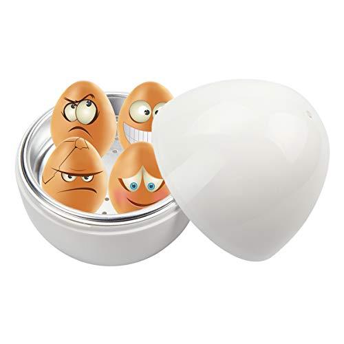 Kitchnexus - Cocedor de huevos para microondas con depósito de agua práctico, color blanco, forma de huevo, para hasta 4 huevos Blanco