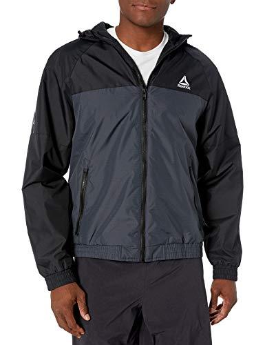 Reebok Men's Windbreaker Jacket, Polar Fleece Lining Black/Charcoal, XL