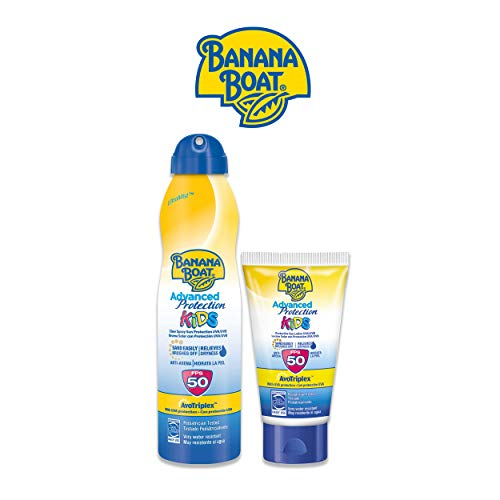 Banana Boat KIDS Pack Duo SPF 50 - Kit de Crema Solar Niños, Spray de 220 ml + Mini Crema Solar Niños, Loción de 60 ml, Amarillo