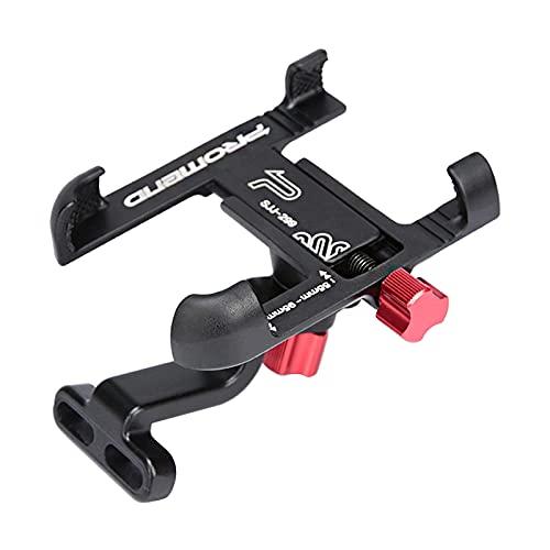Non-brand Soporte para teléfono Impermeable para Manillar de Bicicleta de aleación de Aluminio, Soporte para teléfono móvil con Espejo retrovisor para Bicicleta - Black Handlebar