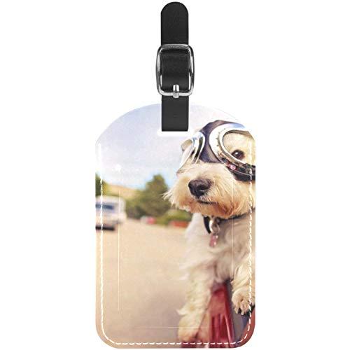 Etiquetas para equipaje con gafas en coche de cuero, para viaje, 1 paquete