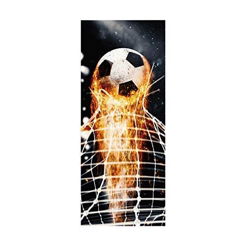 artkingdom Etiqueta engomada de la Puerta Poster Art Decal decoración del hogar para Dormitorio Living Burning fútbol Tamaño 90 * 200cm