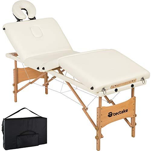 tectake 800794 Mobile Massageliege, 4 Zonen Massagebank, klappbar, höhenverstellbar, Massagetisch aus Holz, tragbar, inkl. Tragetasche - diverse Farben - (Weiß   Nr. 403405)