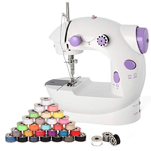 HAITRAL Máquina de coser portátil eléctrica ajustable de 2 velocidades, manual de dos hilos, máquina de reparación con pedal de pie, mini máquina de coser con 25 bobinas de hilo de coser