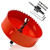 Hordion 115mm 4.5 inch Hole Saw with Drill Bits & Arbor, Heavy Duty Bi-Metal Hole Cutter for Cornhole Boards Wood Plastic Drywall