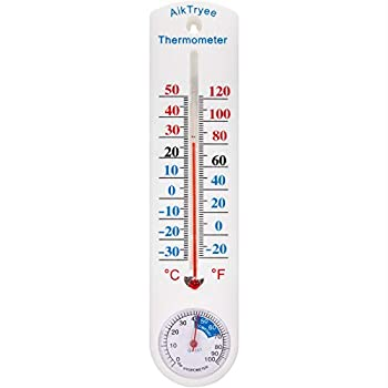 Outdoor/Indoor Thermometer Hygrometer Humidity Meter Thermometers Temperature Humidity Gauge Meter with Fahrenheit/Celsius ℉/℃  for Patio Field Cellar Garden Humidors Greenhouse Closet by AikTryee