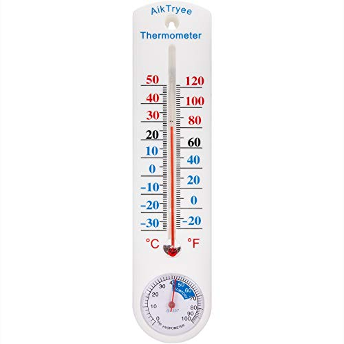 Outdoor/Indoor Thermometer Hygrometer Humidity Meter Thermometers Temperature Humidity Gauge Meter with Fahrenheit/Celsius(℉/℃) for Patio Field Cellar Garden Humidors Greenhouse Closet by AikTryee