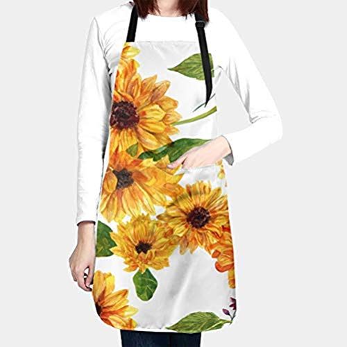 Beautiful Yellow Sunflower Cooking Aprons for Women Men Plus Size with Large Pockets Waterproof Avoid Oil Stains Adjustable Neck Strap for Cooking Gardening Cosmetology Best Kitchen Personalized Gifts