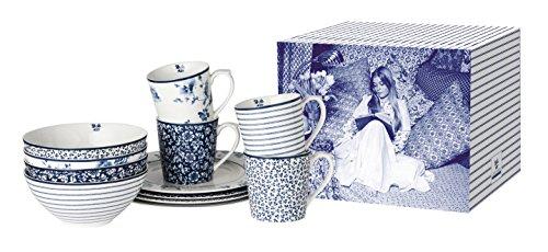 Laura Ashley - 12-teiliges Geschirrset in Geschenkverpackung - 4 x Becher, 4 x Schale 16 cm, 4 x Teller 23 cm