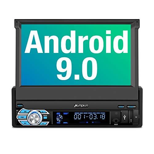 "【Nuevo】 Pumpkin Android 9.0 Radio 1 DIN Autoradio GPS Navegador soporta Bluetooth, Subwoofer, Mirror-Link, Control Volante, WiFi, USB, SD, Bluetooth, AV-out, con 7"" Pantalla Táctil"