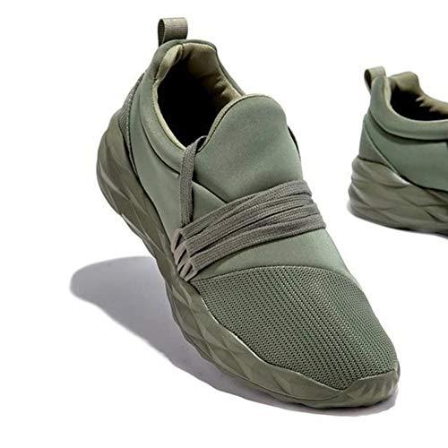 ERLINGO Zapatos de senderismo para mujer sin cordones de malla ligera transpirable Tenis Zapatillas de mujer Zapatillas de deporte para correr atléticas de moda, color Verde, talla 43 EU