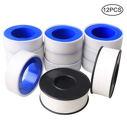 Pengxiaomei 12 Rolls Plumbers Thread Tape, 10 Rolls 1/2inch Plumbing Tape 2 Rolls 3/4inch Teflon Tape White PTFE Pipe Sealant Tape Thread Seal Tapes for Leak Water