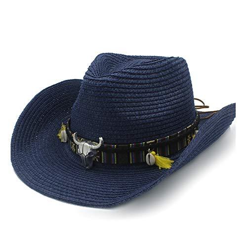 GAOERJI Zomerzonnehoed, bast, hoed, cowboy, hoed, dames, casual, leren riem, koe hoofd, shell, shell, hoed, panama, hoed, mannen
