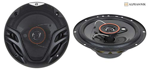 Pair Alphasonik AS26 6.5 inch 350 Watts Max 3-Way Car Audio Full Range Coaxial Speakers with Universal Mounting Holes for Easy Installation and Grills Included