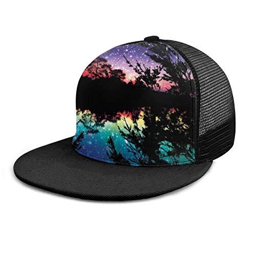 Baseball Cap Lake Moonlight Sterne in Nachthimmel Bäume Adult Unisex Fashion Baseball Caps Verstellbarer Strapback
