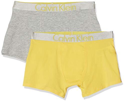 Calvin Klein Jungen 2PK Trunks Badehose, Grau (1GreyHeather/1Maize 0IV), 128 (Herstellergröße:8-10) (2er Pack)