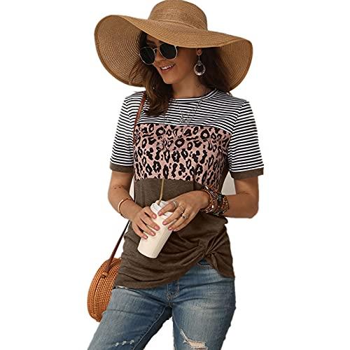 SLYZ Camiseta De Manga Corta con Estampado De Leopardo De Moda para Mujer Camiseta De Verano con Costuras A Rayas para Mujer