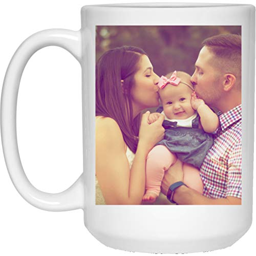 Personalized Coffee Mug for Father Day - Add Your Photo/Logo to Customized Travel, Beer Mug - Great Quality for Gift (White, 15 oz)