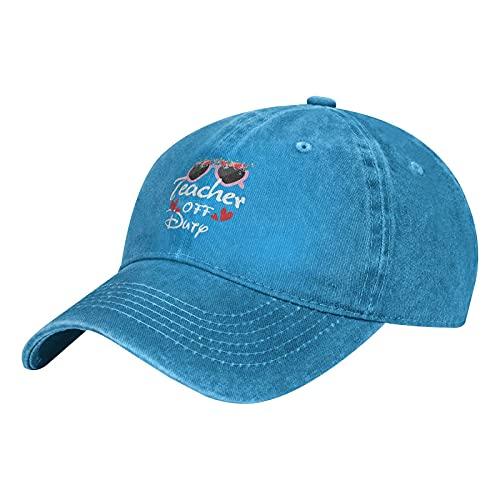 Gymini Teacher Off Duty-4 Gorras de béisbol lavables de algodón ajustables para hombre mujer azul
