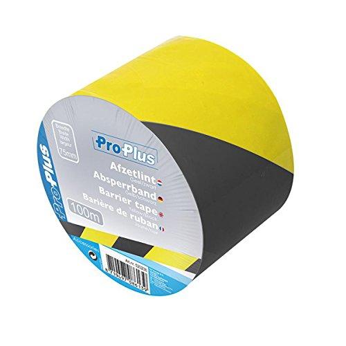 Absperrband 100 Meter Flatterband B75mm Warnmarkierung 30mu Warnband Trassenband für Absicherung Farbwahl Flatterband (schwarz, gelb)
