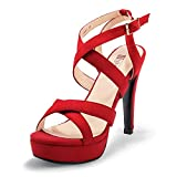 IDIFU Women's High Heel Cross Strap Buckled Heeled...
