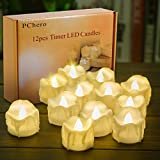 Battery Operated Timer Candles, PChero 12 Packs LED Flameless Votive Tea Lights Candle for Halloween Wedding Party Outdoor Indoor Home Decorations, 6 Hours On and 18 Hours Off Per Cycle - Warm White