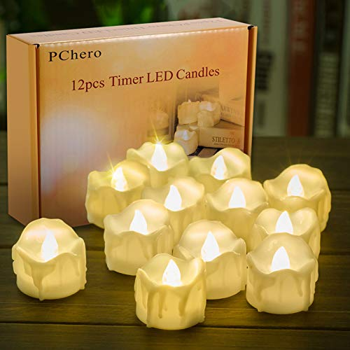 Battery Operated Timer Candles, PChero 12 Packs LED Flameless Votive Tea Lights Candle for Christmas Halloween Home Party Outdoor Decorations, 6 Hours On and 18 Hours Off Per Cycle - Warm White
