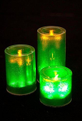 Petite bougie à LED avec bougie vacillante - Décoration lumineuse pour événements (vert)