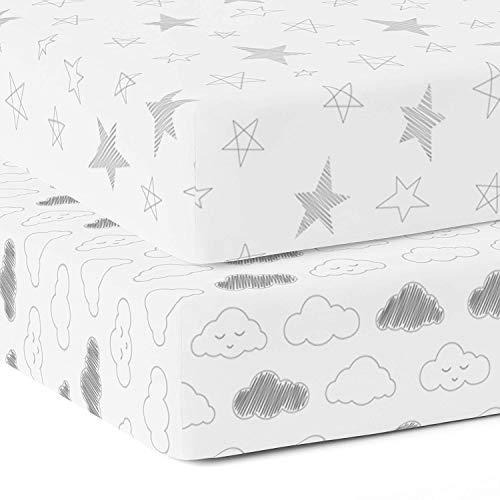 The white cradle-Spannbettlaken aus reiner Bio-Baumwolle für Babybettchen 120 x 60 cm Superweicher, glatter, saugfähiger, atmungsaktiver Köperstoff für Säuglinge, Babys - Star & Wolken