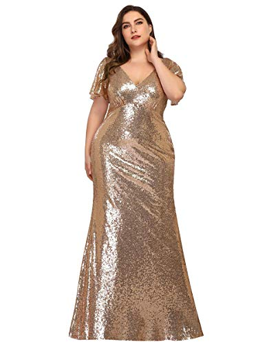 Ever-Pretty Abiti da Sera Sirena Taglie Forti Paillettes Lungo Scollo a V Maniche Corte Donna Oro Rosa 50