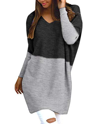 Style Dome Pullover Damen Casual Langarmshirt Bluse V-Ausschnitt Loose Langarm Tunika Patchwork Schwarz-D03760 L