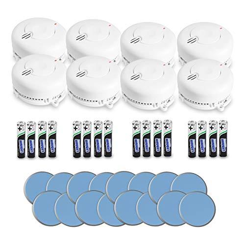 AngelEye 8er Set Rauchmelder – 10 Jahre Batterie Langzeit Lithium Brandmelder/Feuermelder inkl. Magnethalterung DIN EN14604, Weiß