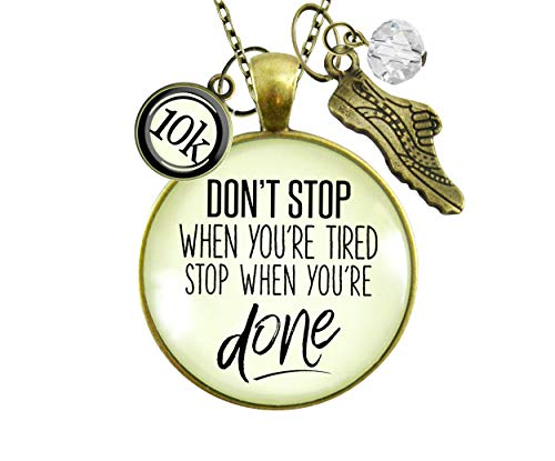 Gutsy Goodness 5K Marathon Necklace Don't Stop When You're Tired Motivational Run Sport Charm 36'