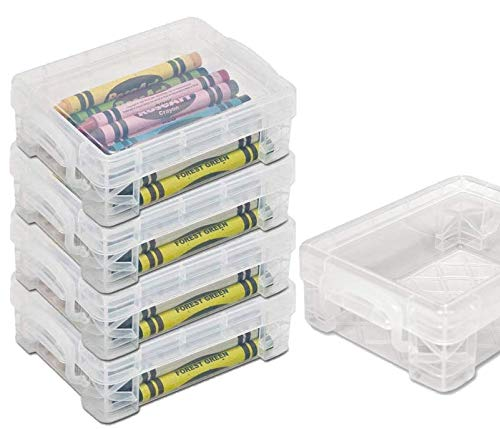 1InTheoffice Crayon Box, Stackable Clear (4 Pack.)