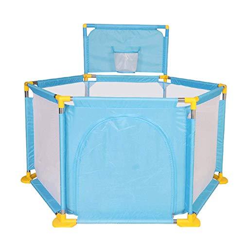 Z-SEAT Babyplaypen Mit 6 Panel, Kinder Activity Center Mit Basketballkorb, Vergnügungspark Tragbares Indoor Sturdy Halten, 128x45cm