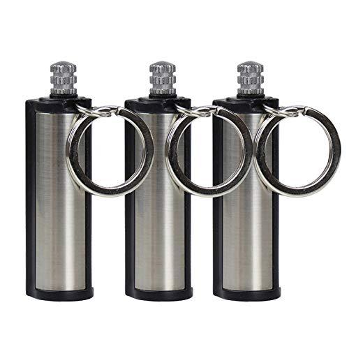 MuSheng Survival Kit - Ewiges Streichholz - Outdoor Feuerzeug - Feuerzeug Schlüsselanhänger - Metall Wasserdichter tragbarer Leichter Flaschenschlüssel für den Außenbereich mit Baumwollkern (Silber)