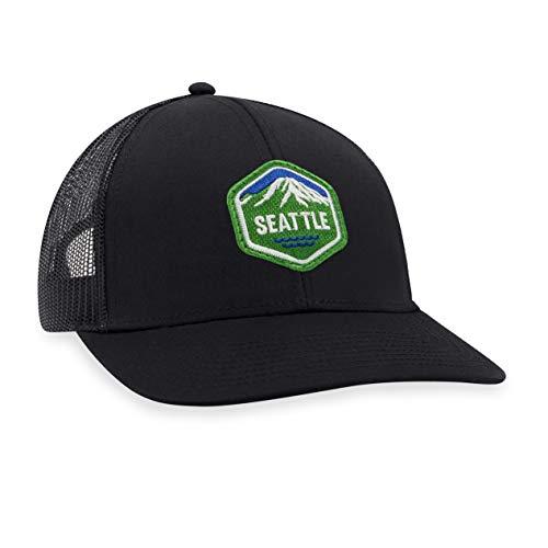 Seattle Hat – Washington Trucker Hat Baseball Cap Snapback Golf Hat (Black)