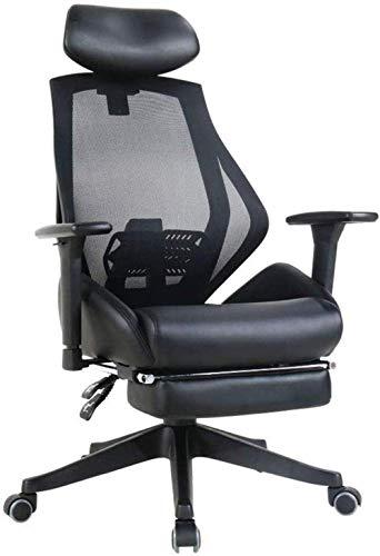 Silla giratoria Silla giratoria: silla de juego de la oficina ejecutiva reclinada de alta espalda con reposapiés, silla ergonómica de escritorio de computadora de cuero unido, altura ajustable, giro d
