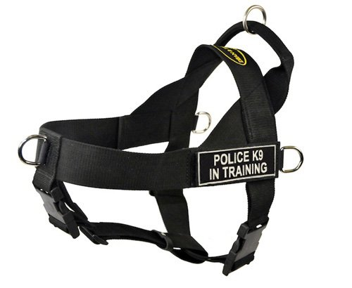 DT Universal No Pull Dog Harness, Police K9 In Training, Black, X-Large, Fits Girth Size: 36-Inch to 47-Inch