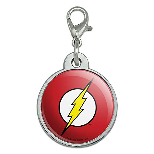 GRAPHICS & MORE The Flash Lightning Bolt Logo Chrome Plated Metal Pet Dog Cat ID Tag