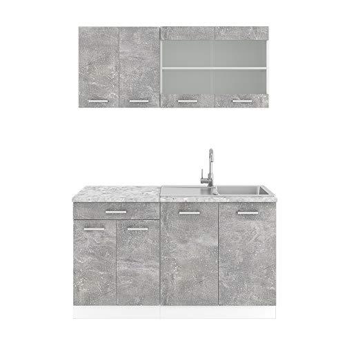 Vicco Küchenzeile Single Einbauküche 140 cm Küchen Hochglanz R-LINE (Beton)