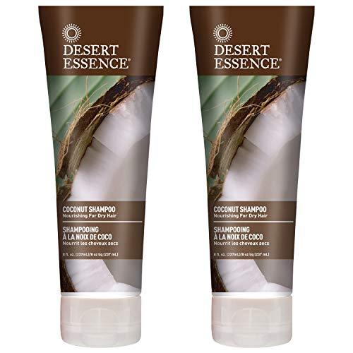 Desert Essence Coconut Shampoo  8 Fl Ounce  Pack of 2  Intense Moisturization  Healthy Hair  Restores Natural Luster  Coconut Oil  Jojoba Oil  Olive Oil  CrueltyFree  ParabensFree
